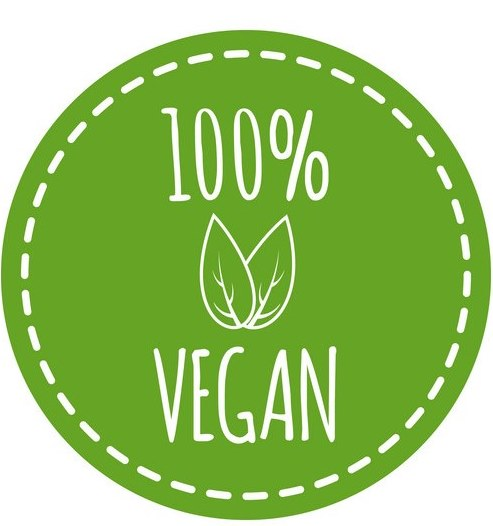 round vegan logo with leaf elements vector 18879331
